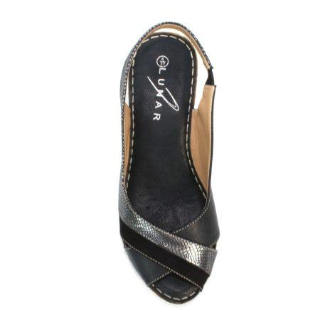 Lunar Nambia Black Wedge Sandals