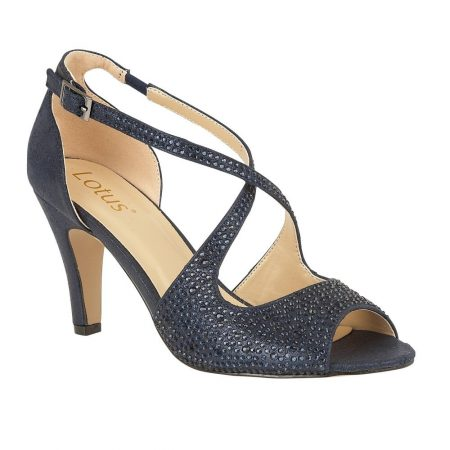 Lotus Rosa Navy Diamante Heels