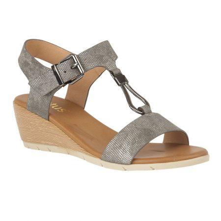 Lotus Ginny Pewter Wedge Sandals