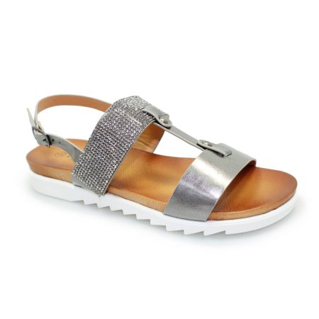 Lunar Saffie Pewter Gem Sandals