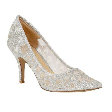 Lotus Sparkle Silver Glitter Heels