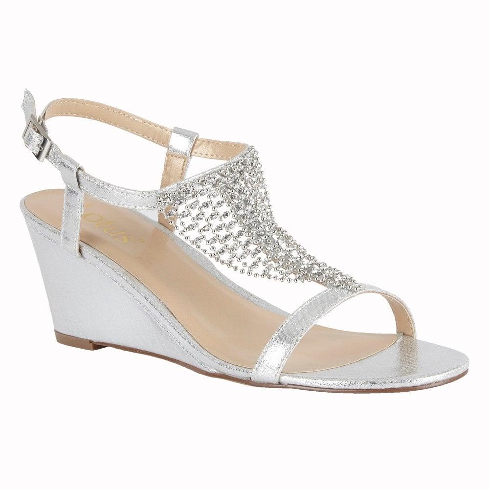63ed1e2351f Lotus Kassidy Silver Wedge Sandals - Brooks Shops