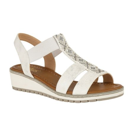 Lotus Etta White Wedge Sandals