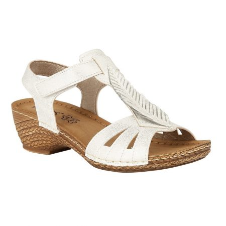 Lotus Melinda White Wedge Sandals