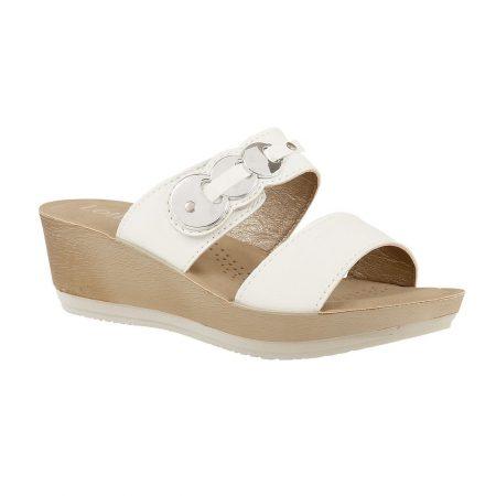 Lotus Roni White Mule Sandals