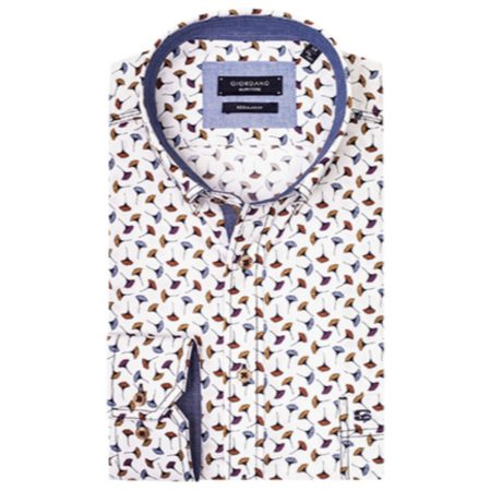 Giordano white patterned shirt