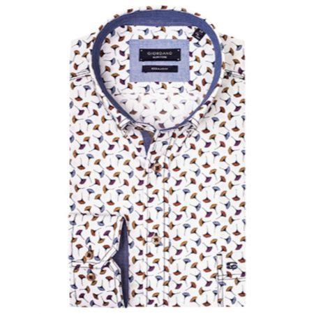 Giordano white patterned shirt