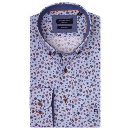 Giordano blue paisley patterned shirt