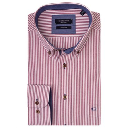 Giordano red striped shirt
