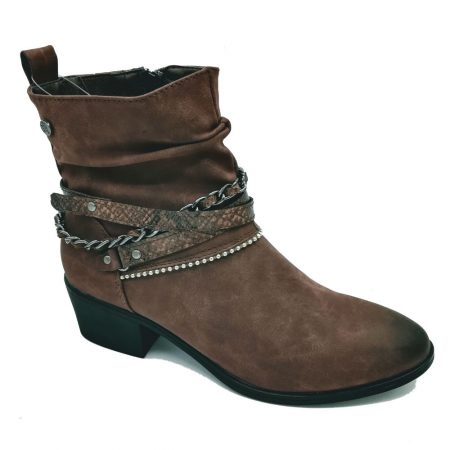 Embrace Brown Chain Ankle Boots