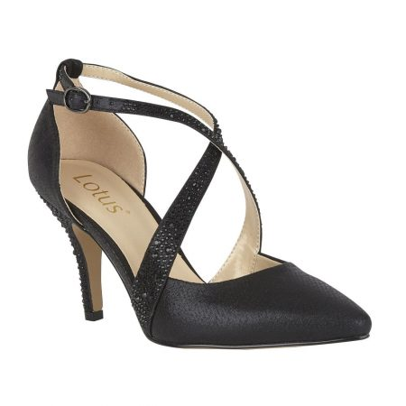 Lotus Orla Black Diamante Heels