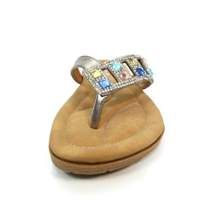 Lunar Abigail Pewter Gem Sandals
