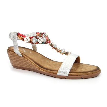 Lunar Alna Silver Wedge Sandals
