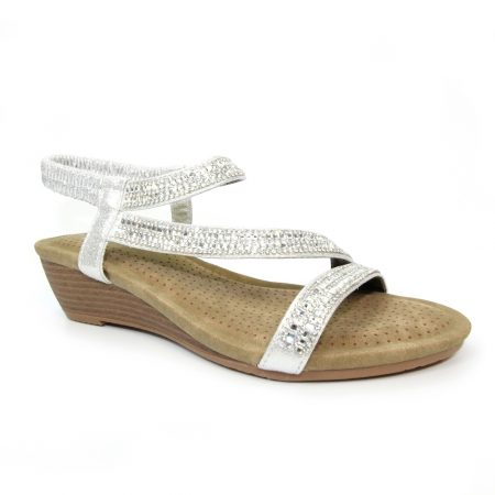Lunar Blair Silver Wedge Sandals