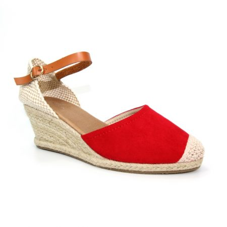 Lunar Jessie Red Wedge Espadrille Sandals