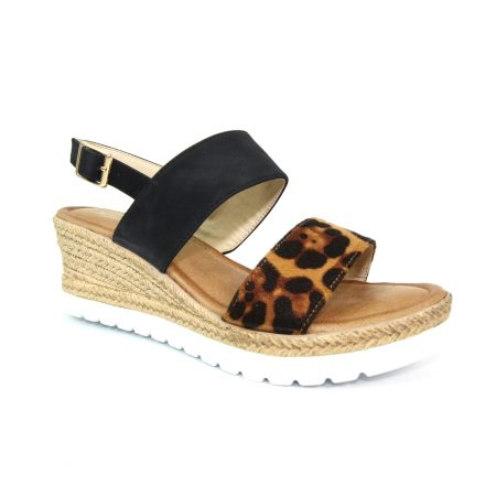 Lunar Marvel Black Animal Wedge Sandals