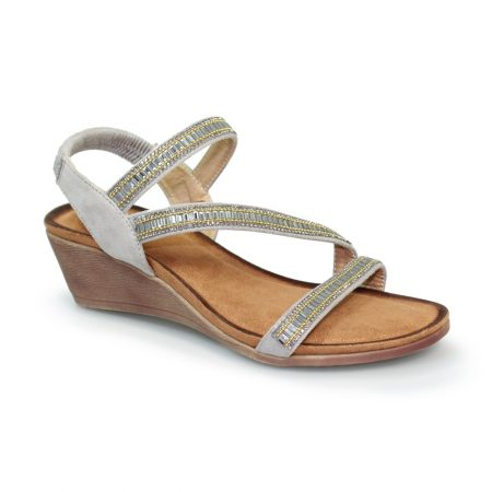 Lunar Sofia Grey Wedge Sandals