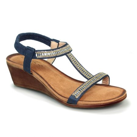 Lunar Tabitha Navy Wedge Sandals