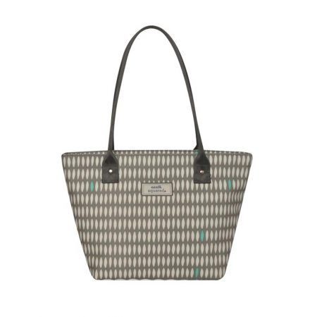 Earth Squared Grey Print Oilcloth Tote