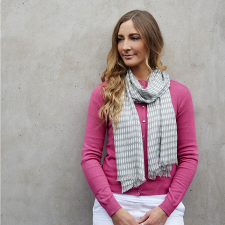 Earth Squared Grey Print Scarf
