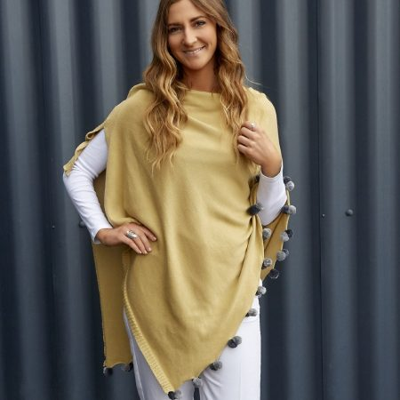Earth Squared Light Camel Cotton Poncho
