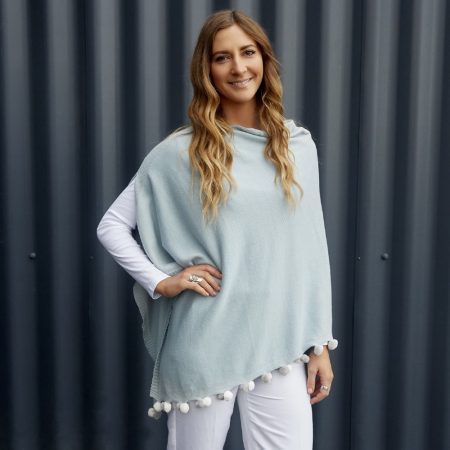 Earth Squared Sky Blue Cotton Poncho