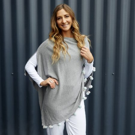 Earth Squared Light Grey Cotton Poncho