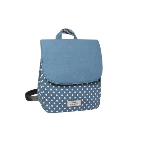 Earth Squared Blue Spotty Canvas Backpack
