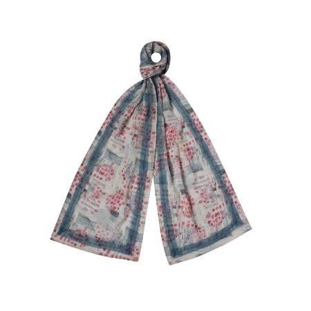 Earth Squared Pink Floral Chiffon Scarf