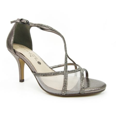Lunar Ruthin Pewter Wide Fit Heels