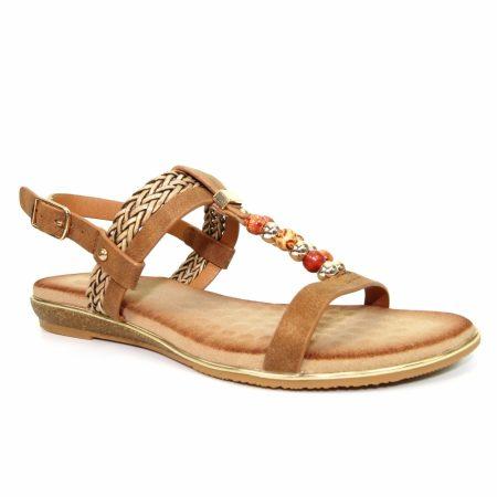 Lunar Alana Tan Flat Sandals