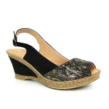 Lunar Binks Black Wedge Sandals