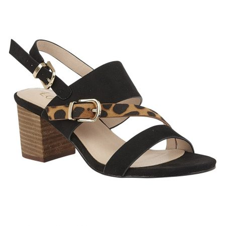 Lotus Melissa Black Animal Heeled Sandals