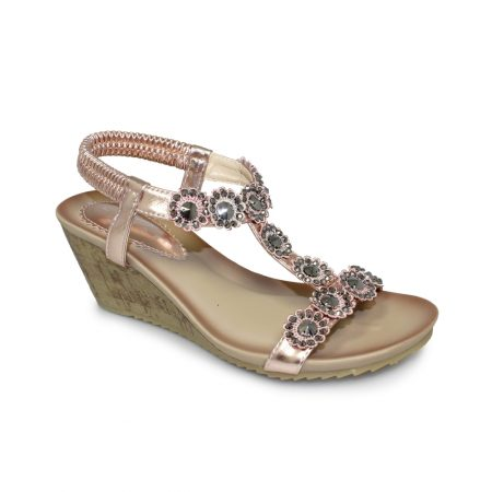 Lunar Cally Rose Gold Wedge Sandals