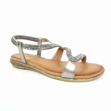 Lunar Emilia Pewter Flat Sandals