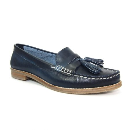Lunar Macadamia Navy Leather Loafers