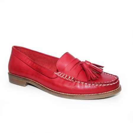 Lunar Macadamia Red Leather Loafers