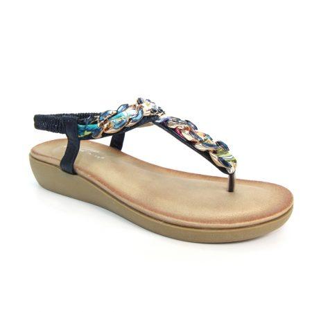 Lunar Majorca Navy Toe Post Sandals
