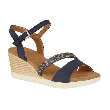 Lotus Lilou Navy Wedge Sandals