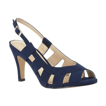 Lotus Dakota Navy Micro Fibre Heels