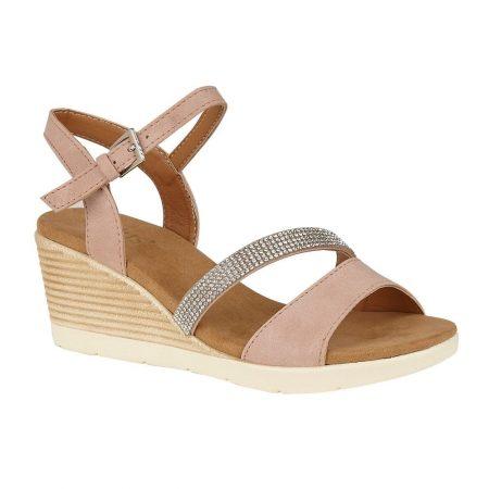 Lotus Lilou Pink Wedge Sandals