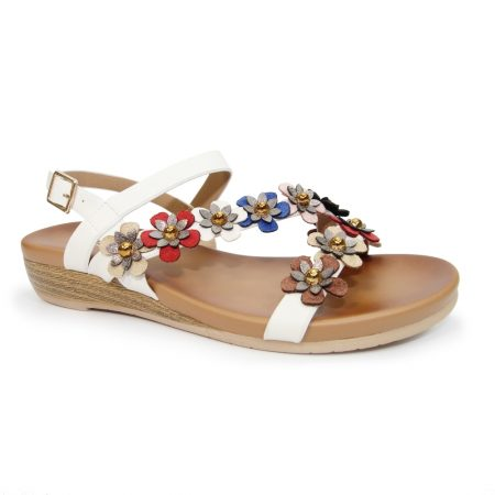 Lunar Rona White Flower Sandals