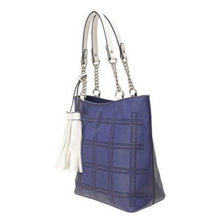 Envy Navy White Medium Handbag
