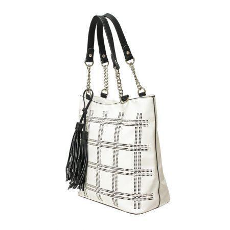 Envy White Black Medium Handbag