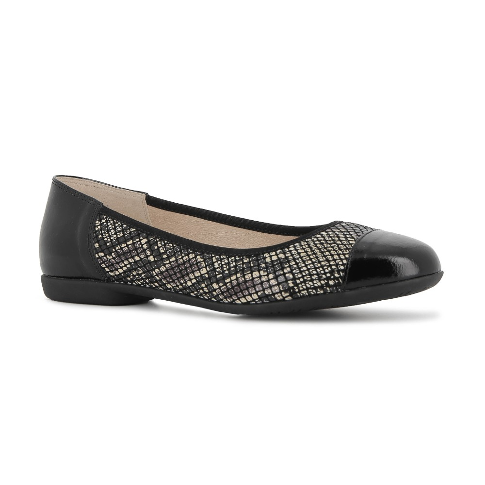 Alpina Caty Black Snake Print Shoes