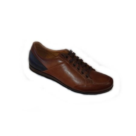 Lacuzzo Tan Navy Leather Trainers