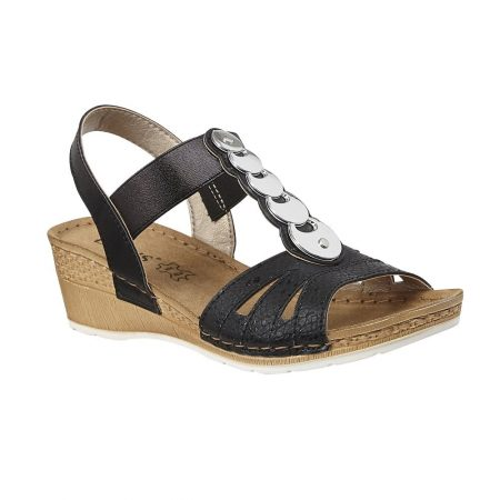 Lotus Padova Black Wedge Sandals