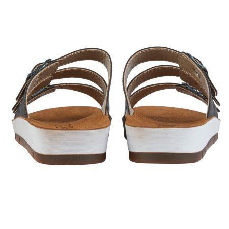 Lotus Turin Black Flat Sandals