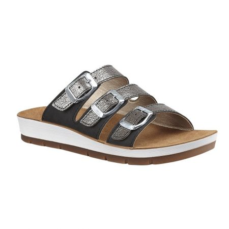 Lotus Turin Black Flat Sandals