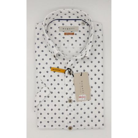 Bugatti white patterned short sleeve shirt